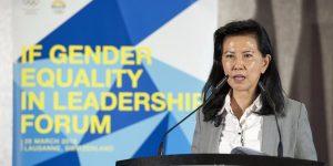 Secratária-geral da WBSC, Beng Choo Low, discursando no 3º Forum da ASOIF sobre igualidade de gêneros em março de 2018, em Lausanne na Suiça. (foto:IOC Philippe Woods)
