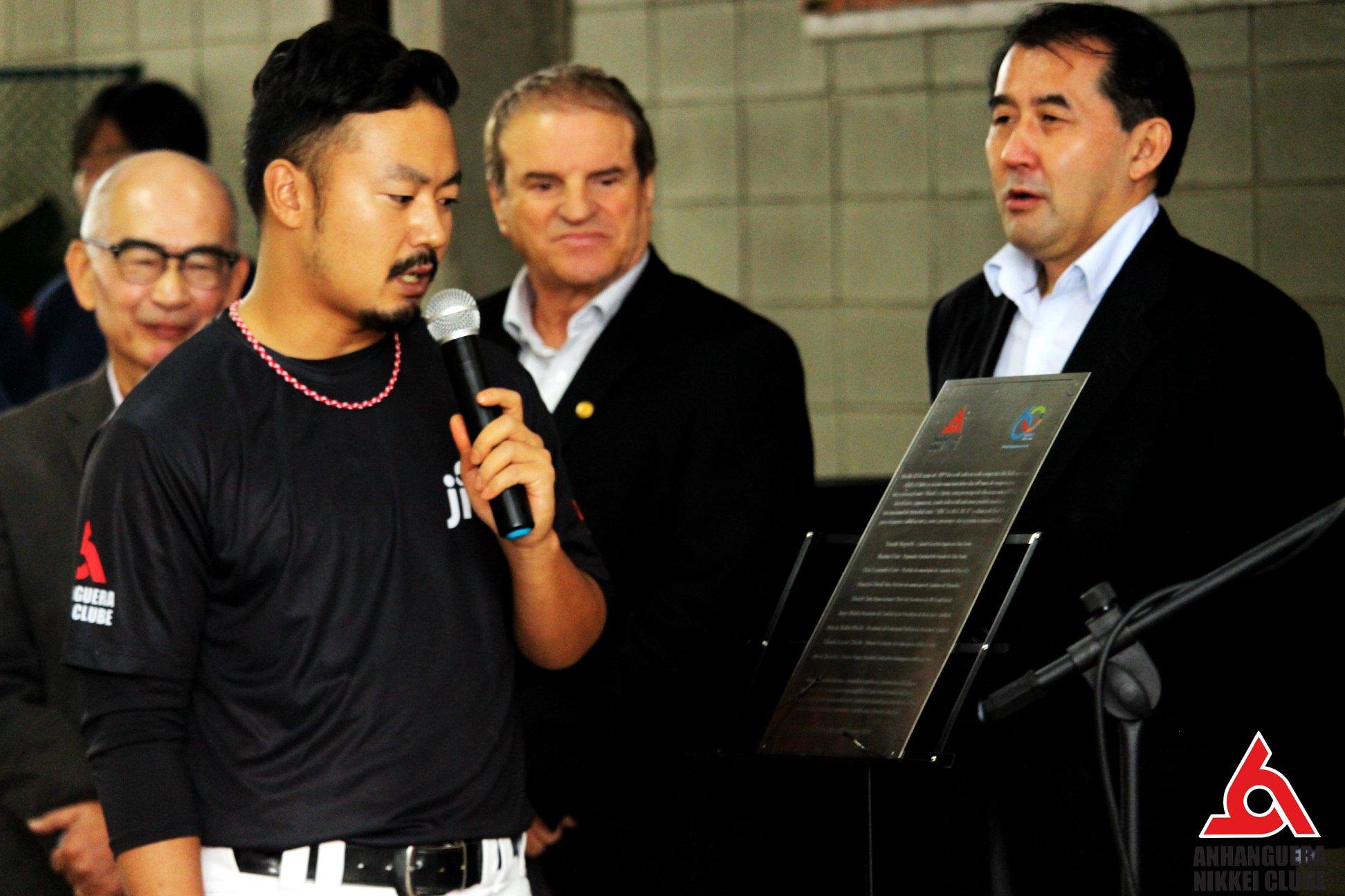 Yuta Nagaura em discurso de abertura